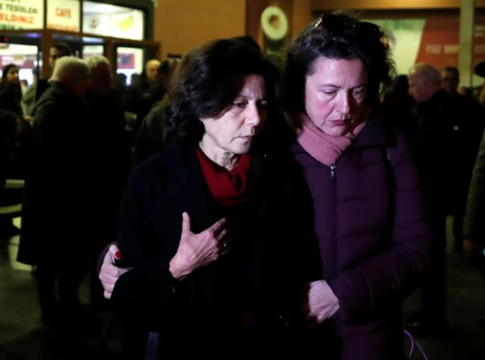 FILE PHOTO: Ayse Bugra, wife of Osman Kavala, Turkish businessman and philanthropist, leaves the restaurant after learning that Istanbul prosecutor's office demanded the detention of her husband, in Silivri