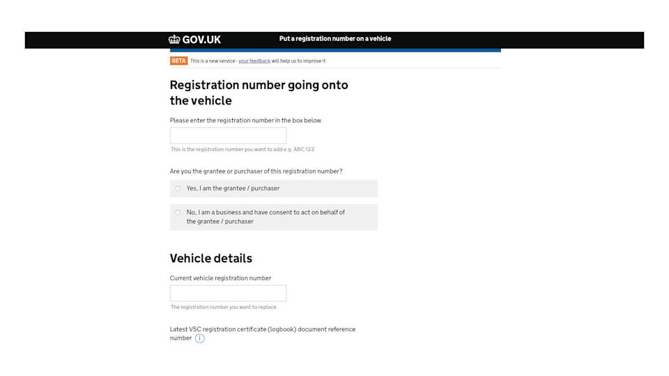 How to assign a private number plate online