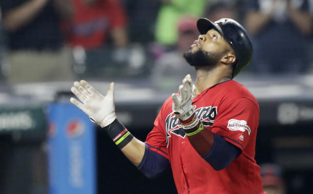Cleveland Indians' Carlos Santana looks up after hitting a solo home run in the seventh inning of a baseball game against the Kansas City Royals, Tuesday, June 25, 2019, in Cleveland. (AP Photo/Tony Dejak)