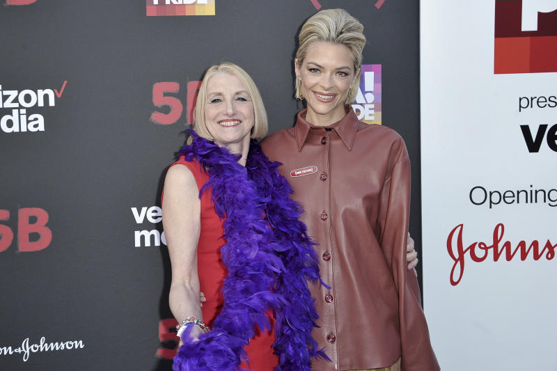 "Rita Rockett, left, and Jaime King attend the U.S. premiere of the documentary Film ""5B"" during the opening night of LA Pride Festival on Friday, June 7, 2019, in West Hollywood, Calif. (Photo by Richard Shotwell/Invision/AP)"