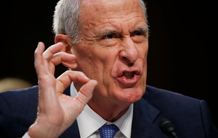 U.S. Director of National Intelligence Daniel Coats testifies at a Senate Intelligence Committee hearing on his interactions with the Trump White House and on the Foreign Intelligence Surveillance Act on June 7, 2017.