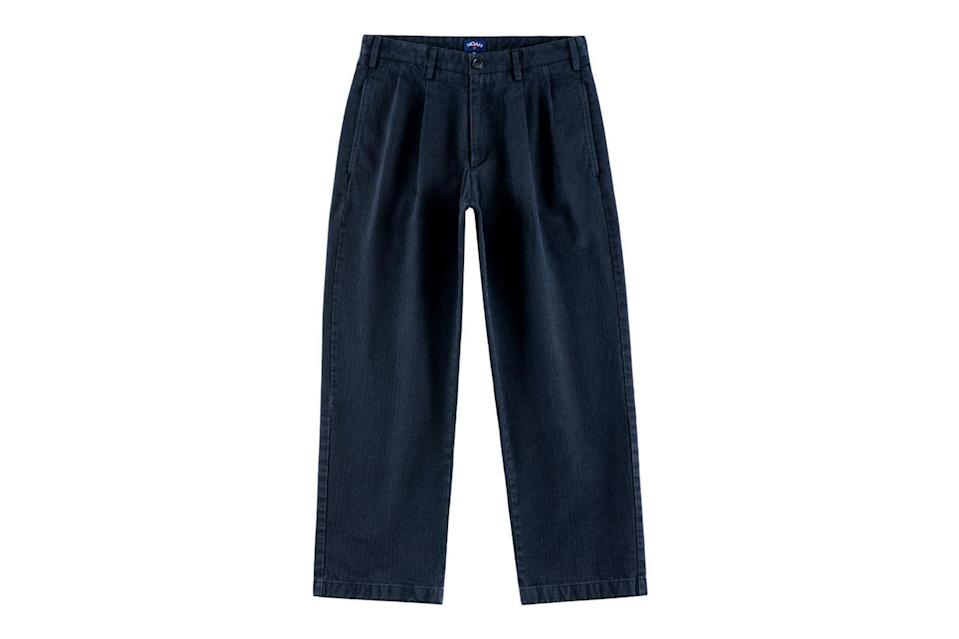 """As far as twill chinos go right now, the dadlier, the better. Go wide, get pleated, and pull 'em high on your waist.<br> <br> <em>Noah double-pleat herringbone trouser</em> $248, Noah. <a href=""""https://noahny.com/collections/bottoms/products/double-pleat-herringbone-trouser?color=Navy"""" rel=""""nofollow noopener"""" target=""""_blank"""" data-ylk=""""slk:Get it now!"""" class=""""link rapid-noclick-resp"""">Get it now!</a>"""