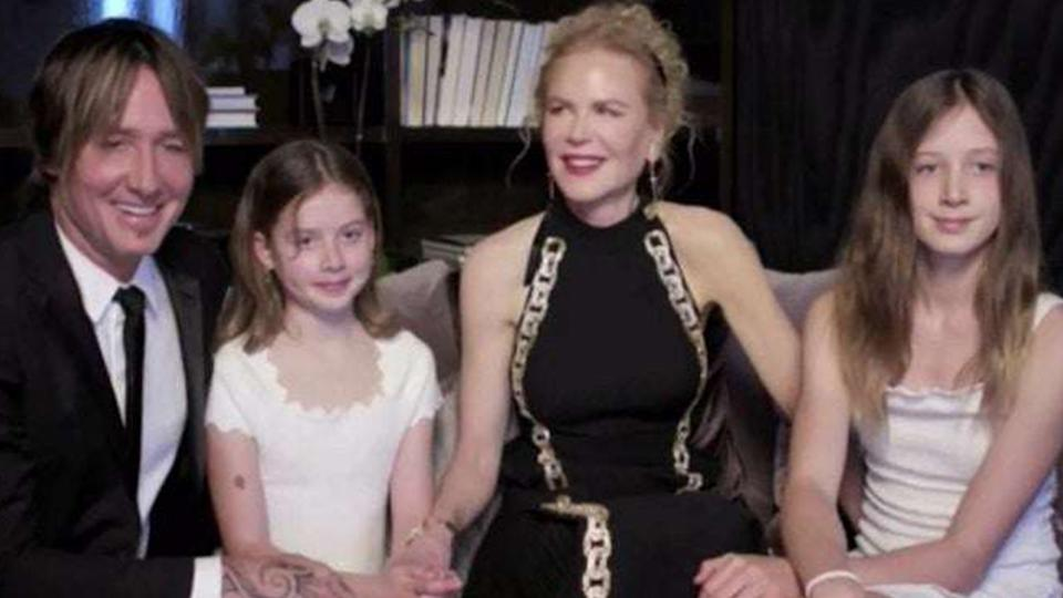 Golden Globes viewers were treated to a 'rare look' at Nicole Kidman and Keith Urban's two daughters. Photo: NBC.