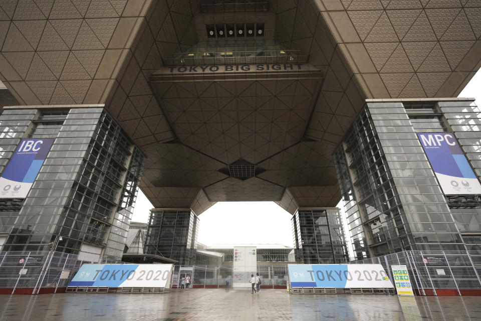 Main Press Center (MPC) for Tokyo 2020 Olympic Games is seen at Tokyo Big Site Friday, July 2, 2021, in Tokyo. (AP Photo/Eugene Hoshiko)