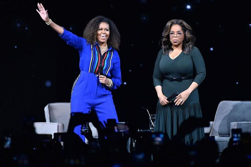 Former First Lady Michelle Obama (left) and Oprah Winfrey | Theo Wargo/Getty Images