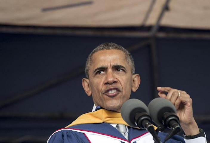 """US President Barack Obama told the commencement ceremony for Howard University, """"America is by almost every measure better than it was when I graduated from college"""" (AFP Photo/Saul Loeb)"""