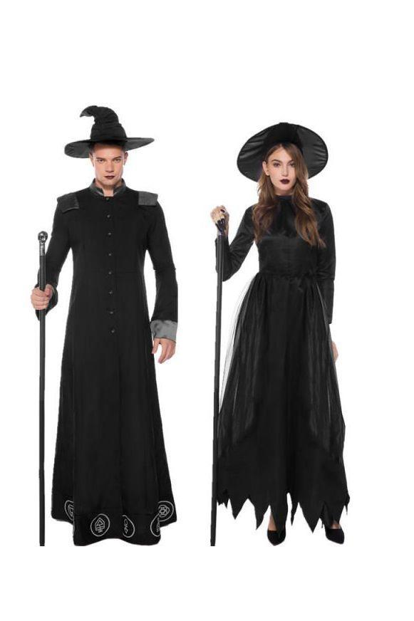 """<p>Conjure up some spooky magic with this creepy warlock and witch costume. </p><p><a class=""""link rapid-noclick-resp"""" href=""""https://cosplayware.com/oonight-alloween-ouples-ostumes-othic-izard-ostume-uropean-eligious-en-riest-niform-ancy-osplay/"""" rel=""""nofollow noopener"""" target=""""_blank"""" data-ylk=""""slk:SHOP COSTUME SET"""">SHOP COSTUME SET</a></p>"""