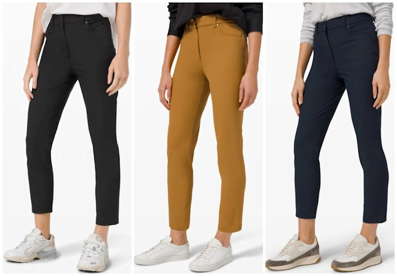 Lululemon's Sleek 5 Pocket 7/8 Pant will give you that comfy feel while looking professional. (Photo via Lululemon)