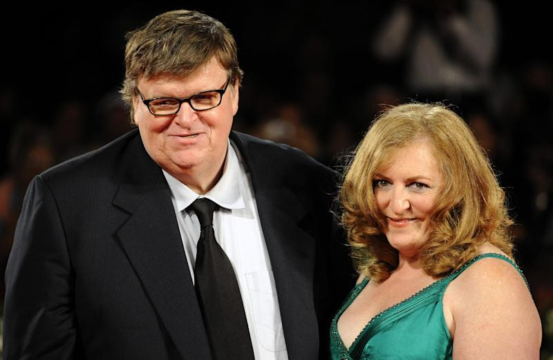 US director Michael Moore and his wife Kathleen Glynn at the Venice film festival on September 6, 2009