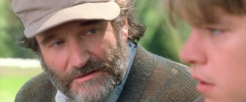 Robin Williams as Sean Maguire in 'Good Will Hunting'. (Credit: Lawrence Bender Productions)