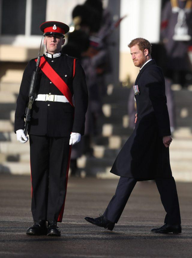 Prince Harry arrives at the Royal Military Academy. (Steve Parsons/PA)