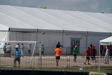 Children who have been incarcerated by Homeland Security are housed in tents in Homestead