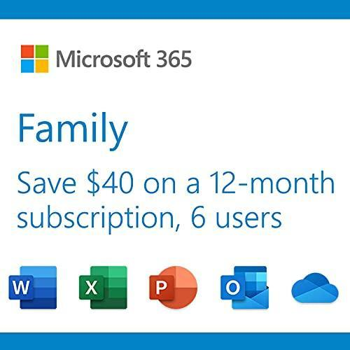 Microsoft 365 Family | 12-Month Subscription, up to 6 people | Premium Office Apps | 1TB OneDri…