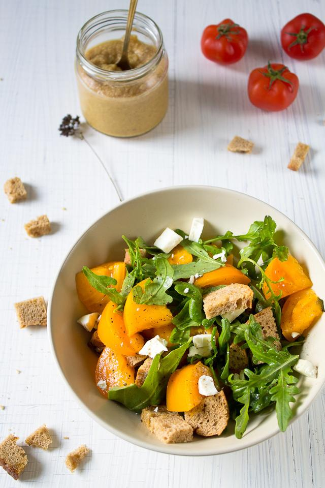 "<p>Make your regular salads sweet, tangy & mustardy with this easy to make honey mustard dressing. To make this dressing mix together 1 tsp honey, 1 tsp mustard sauce, 2 tsp lemon juice with enough extra virgin olive oil & salt & pepper to taste. Pour over roughly chopped lettuce, diced tomatoes & other seasonal vegetables of choice. Add a protien like chicken to make it a complete meal. ""Creative Commons Panzanella with home-made honey mustard dressing"" by Migle licensed under CC BY 2.0 </p>"