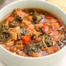 """<p>This Italian-inspired chilli is packed with spicy turkey sausage and leafy kale for a tomato-y chilli.</p><p>Get the <a href=""""https://www.delish.com/uk/cooking/recipes/a33212637/spicy-turkey-sausage-kale-chili-recipe/"""" rel=""""nofollow noopener"""" target=""""_blank"""" data-ylk=""""slk:Spicy Turkey Sausage and Kale Chilli"""" class=""""link rapid-noclick-resp"""">Spicy Turkey Sausage and Kale Chilli</a> recipe.</p>"""