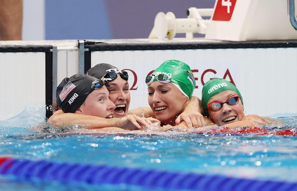 <p>A heartwarming moment in the women's 200m backstroke final – Tatjana Schoenmaker having won gold and set a new Olympic record was pulled in for a congratulatory hug by her competitors. Visibly overwhelmed at her feat the two American swimmers Lilly King and Annie Lazor, and Schoenmaker's fellow South African swimmer celebrated with her. </p>