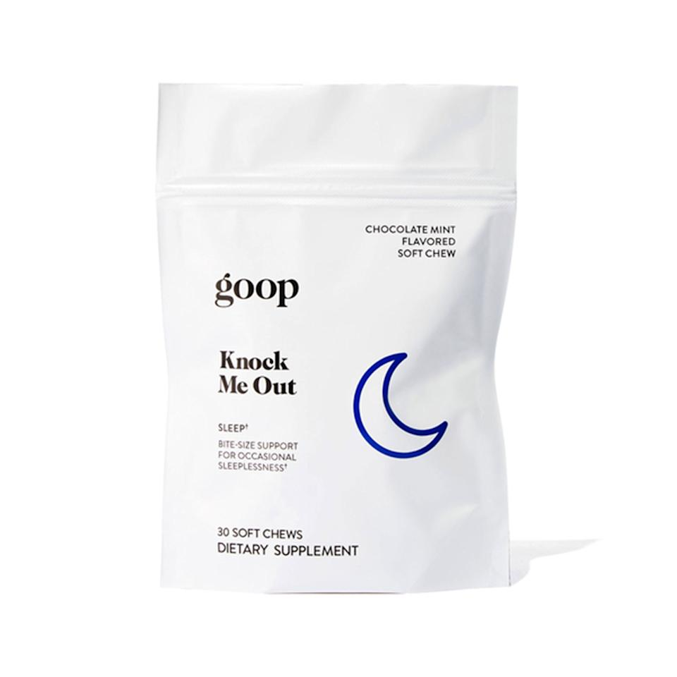 "<p>The bite-sized Knock Me Out chews by Goop are the perfect remedy for when you can't fall asleep. Pop one of the chocolate-mint melatonin candies into your mouth before bed and get ready to hit snooze come morning.</p> <p><strong>$30 for 15-day supply (<a href=""https://shop-links.co/1685821398732759055"" rel=""nofollow"">Shop Now</a>)</strong></p>"