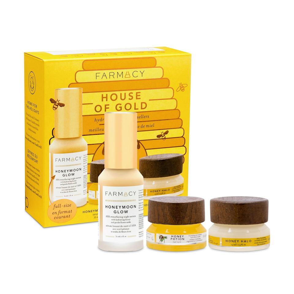 """<p>In Farmacy House of Gold Set, <a href=""""https://www.allure.com/gallery/honey-skin-care-products?mbid=synd_yahoo_rss"""" rel=""""nofollow noopener"""" target=""""_blank"""" data-ylk=""""slk:honey"""" class=""""link rapid-noclick-resp"""">honey</a> is the queen bee of the ingredient lists for all three products included. The regular-size bottle of the Honeymoon Glow, which is sold separately for $58 by the way, combines the healing properties of honey with gentle acids to keep skin clear, even, and luminous. You'll also find baby jars of Honey Potion, which is a warming, wash-off mask that intensely hydrates skin, and Honey Halo, a <a href=""""https://www.allure.com/gallery/best-ceramide-skin-care-products?mbid=synd_yahoo_rss"""" rel=""""nofollow noopener"""" target=""""_blank"""" data-ylk=""""slk:ceramide-rich"""" class=""""link rapid-noclick-resp"""">ceramide-rich</a> moisturizer, in the gift box. </p> <p><strong>$60 (</strong><a href=""""https://www.sephora.com/product/farmacy-house-gold-P462680"""" rel=""""nofollow noopener"""" target=""""_blank"""" data-ylk=""""slk:Shop Now"""" class=""""link rapid-noclick-resp""""><strong>Shop Now</strong></a><strong>)</strong> </p>"""
