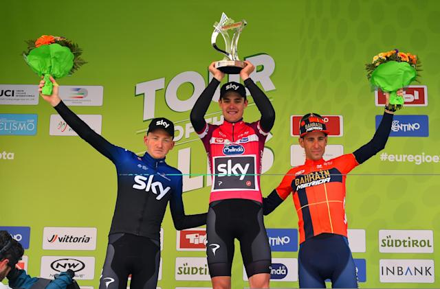 The final podium of the 2019 Tour of the Alps