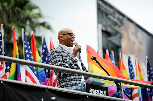 <p>Actor and drag queen icon RuPaul addresses the crowd before a Resist March that replaced the annual Pride Parade in Los Angeles, Calif., on June 11, 2017. (Photo: Andrew Cullen/Reuters) </p>