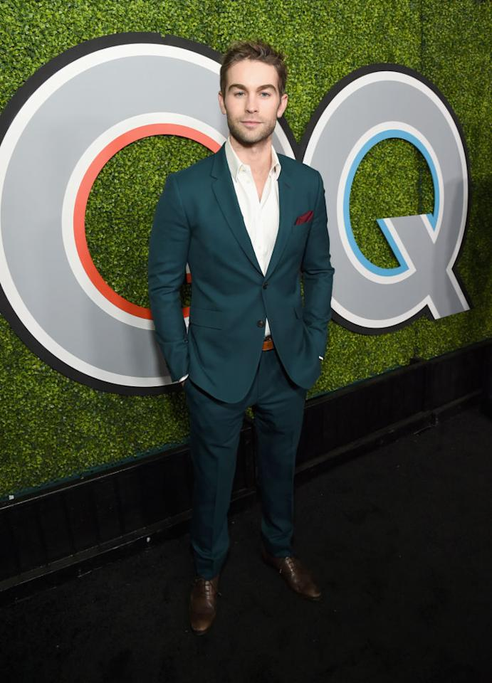 "<p>The ""Gossip Girl"" alum rocked a turquoise suit. (Photo: Getty Images) </p>"