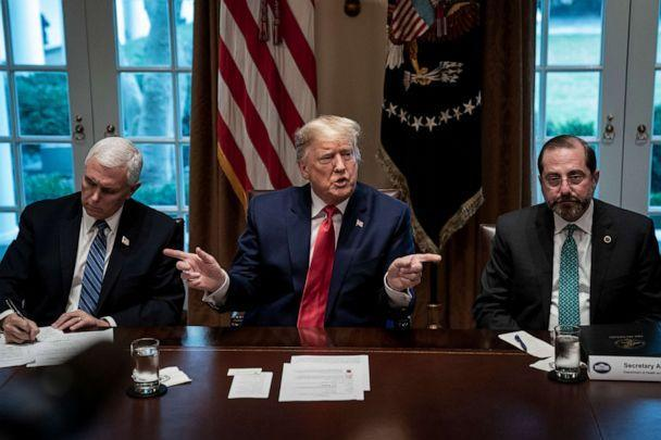 PHOTO: Flanked by Vice President Mike Pence, left, and Secretary of Health and Human Services Alex Azar, President Donald Trump speaks during a meeting with the White House Coronavirus Task Force at the White House on March 2, 2020, in Washington. (Drew Angerer/Getty Images)