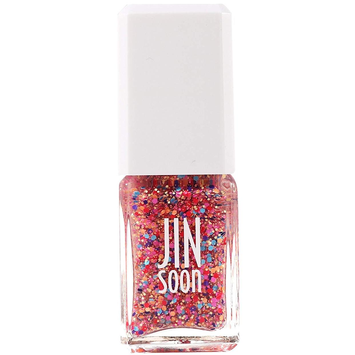 """<h3>JINsoon Nail Polish in Fab<br></h3> <br>The best part about swiping on a multi-colored rainbow glitter polish, like this funfetti shade by <a href=""""https://www.refinery29.com/en-us/nyc-best-nail-salons#slide-9"""" rel=""""nofollow noopener"""" target=""""_blank"""" data-ylk=""""slk:Jin Soon"""" class=""""link rapid-noclick-resp"""">Jin Soon</a>, over a naked nail is that it's delightfully <a href=""""https://www.refinery29.com/en-us/top-coat-nail-polish"""" rel=""""nofollow noopener"""" target=""""_blank"""" data-ylk=""""slk:resistant to chipping"""" class=""""link rapid-noclick-resp"""">resistant to chipping</a>.<br><br><strong>JINsoon</strong> Nail Polish in Fab, $, available at <a href=""""https://www.amazon.com/JINsoon-Fab-Nail-Polish-oz/dp/B016NBGIK0"""" rel=""""nofollow noopener"""" target=""""_blank"""" data-ylk=""""slk:Amazon"""" class=""""link rapid-noclick-resp"""">Amazon</a><br>"""
