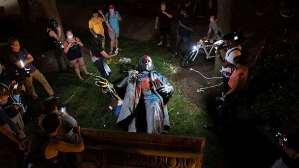 PHOTO: A statue of Confederate General Albert Pike lays on the ground after being toppled near Judiciary Square following a day of Juneteenth celebrations in Washington, DC, June 20, 2020. (Michael Reynolds/EPA via Shutterstock)