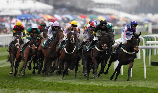 Horse Racing - Grand National Festival - Aintree Racecourse, Liverpool, Britain - April 13, 2018 General view during the 13:45 Alder Hey Children's Charity Handicap Hurdle REUTERS/Andrew Yates