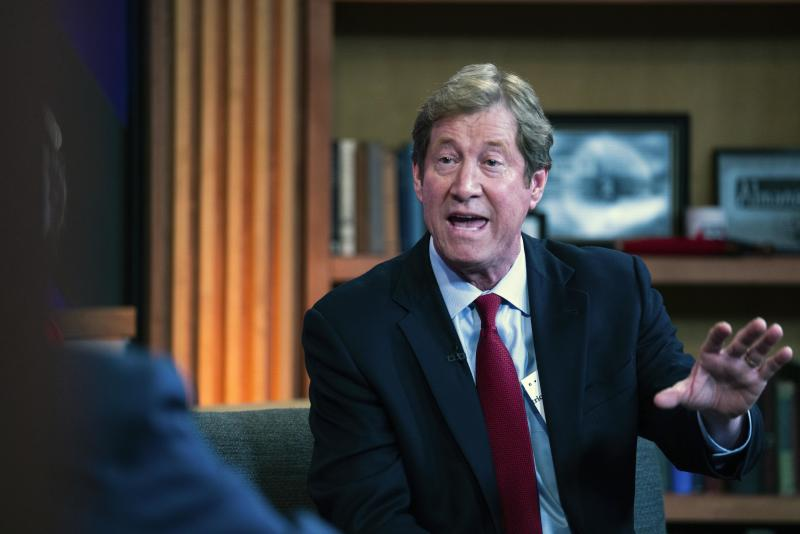 "FILE - In this Oct. 19. 2018, file photo, Republican U.S. Rep. Jason Lewis, right, and Democratic challenger Angie Craig debate on the Almanac at the TPT studios in St. Paul, Minn. Lewis is kicking off a Minnesota Senate bid with a video that attacks freshman Rep. Ilhan Omar and the so-called ""resistance"" to President Donald Trump. Lewis, a former conservative talk show host who lost his House re-election bid in 2018, announced his campaign in a video posted on YouTube. (Mark Vancleave/Star Tribune via AP, File)"