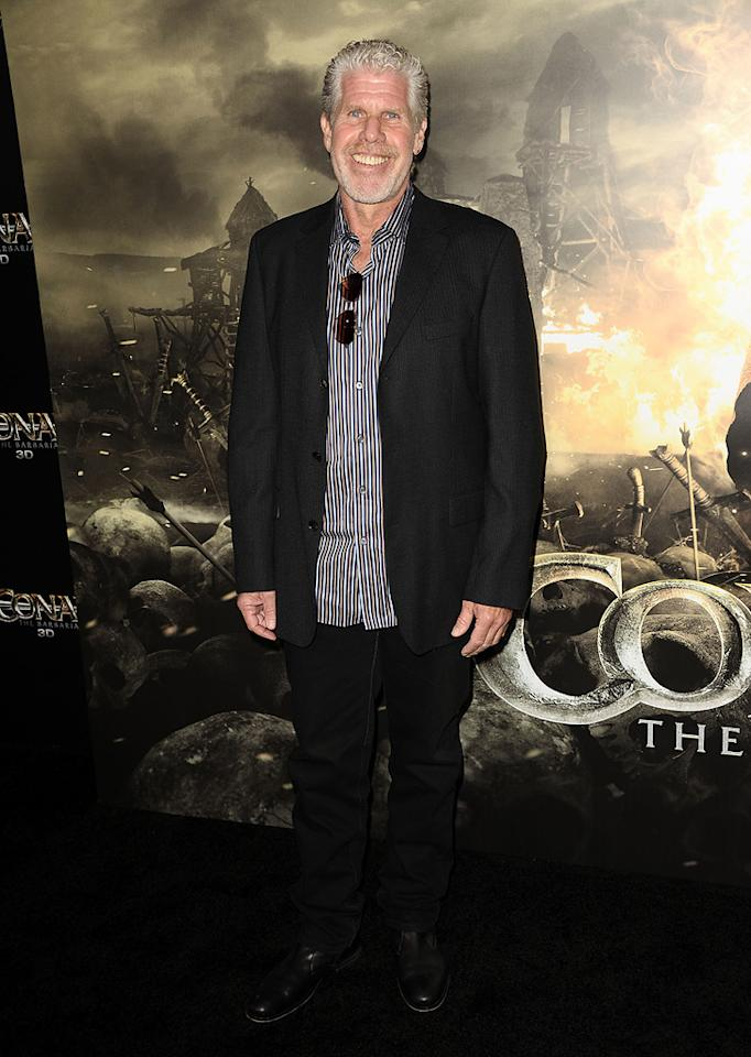 """<a href=""""http://movies.yahoo.com/movie/contributor/1800019724"""">Ron Perlman</a> at the Los Angeles premiere of <a href=""""http://movies.yahoo.com/movie/1809953260/info"""">Conan the Barbarian</a> on August 11, 2011."""