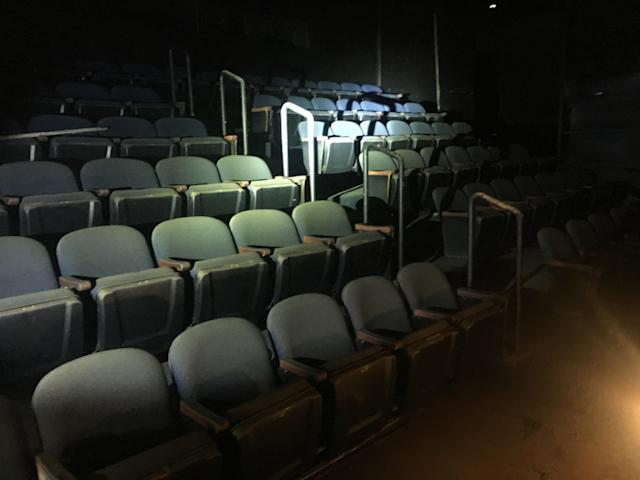 Ruined chairs from the Neuhaus Theatre in the Alley Theatre, Houston, Sept. 1, 2017. (Photo: Courtesy of Alley Theatre)