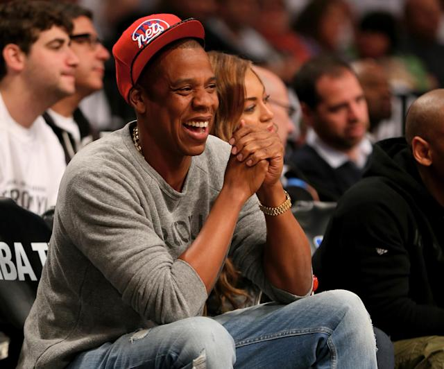 Jay-Z and Beyonce attend Game Six of the Eastern Conference Quarterfinals during the 2014 NBA Playoffs at the Barclays Center on May 2, 2014 in New York City. (Elsa/Getty Images)