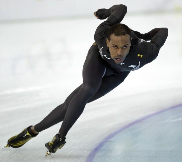 Speedskater Shani Davis of the U.S. trains at the Adler Arena Skating Center during the 2014 Winter Olympics in Sochi, Russia, Thursday, Feb. 6, 2014. (AP Photo/Patrick Semansky)