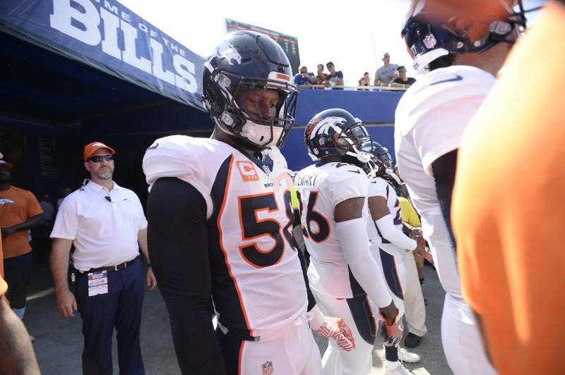 Denver Broncos outside linebacker Von Miller (58) got called for a terrible penalty in the fourth quarter against Buffalo. (AP)