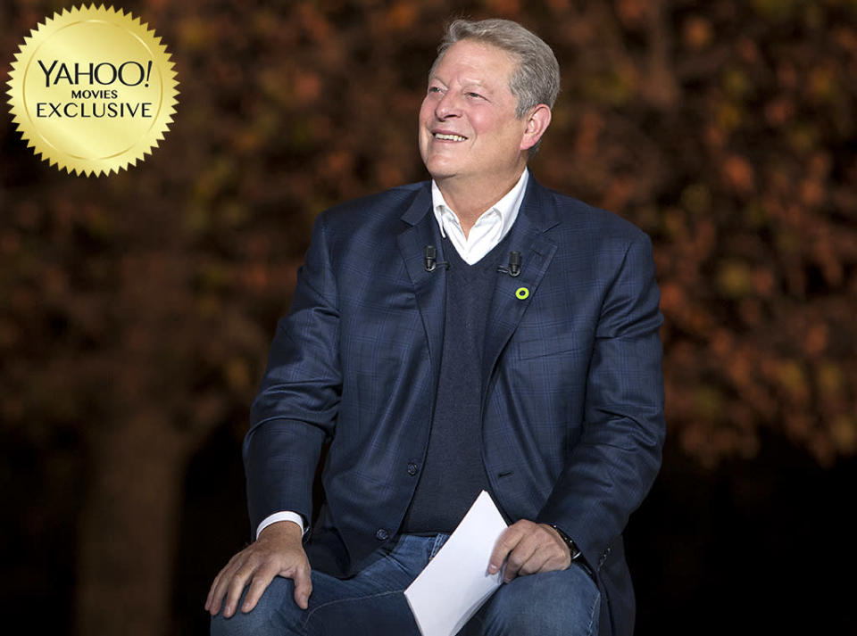 """<p>Former Veep <a rel=""""nofollow"""" href=""""https://www.yahoo.com/movies/tagged/al-gore"""" data-ylk=""""slk:Al Gore"""" class=""""link rapid-noclick-resp"""">Al Gore</a> returns to movie screens in this follow-up to 2006's Oscar-winning documentary <em>An Inconvenient Truth</em>. This time, Gore <a rel=""""nofollow"""" href=""""https://www.yahoo.com/movies/sundance-report-al-gore-is-all-action-some-talk-in-fiery-inconvenient-sequel-truth-to-power-124719369.html"""" data-ylk=""""slk:leaves the PowerPoint presentation behind;outcm:mb_qualified_link;_E:mb_qualified_link;ct:story;"""" class=""""link rapid-noclick-resp yahoo-link"""">leaves the PowerPoint presentation behind</a> to travel the world in his tireless conquest to unite the globe in its fight against climate change. 