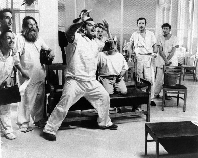 "FILE - In a in Nov. 1975 file photo provided by United Artists, actor Jack Nicholson is shown in a scene from the movie ""One Flew Over The Cuckoo's Nest"". Louise Fletcher says she's no longer able to watch the movie ìOne Flew Over the Cuckoo's Nestî because the character she won an Oscar for, Nurse Ratched, is so cruel. Fletcher will be in Salem, Ore., on Saturday, Oct. 2012 for the opening of a museum of mental health at the rebuilt Oregon State Hospital, where the 1975 movie was filmed. (AP Photo/United Artists, File)"