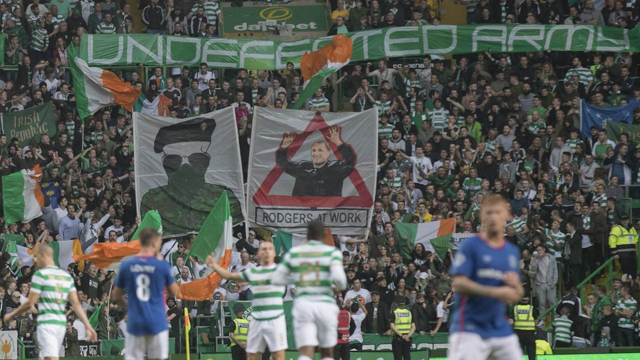 A banner featuring a masked paramilitary fighter appeared at Parkhead, leading the Bhoys to issue an apology after the incident