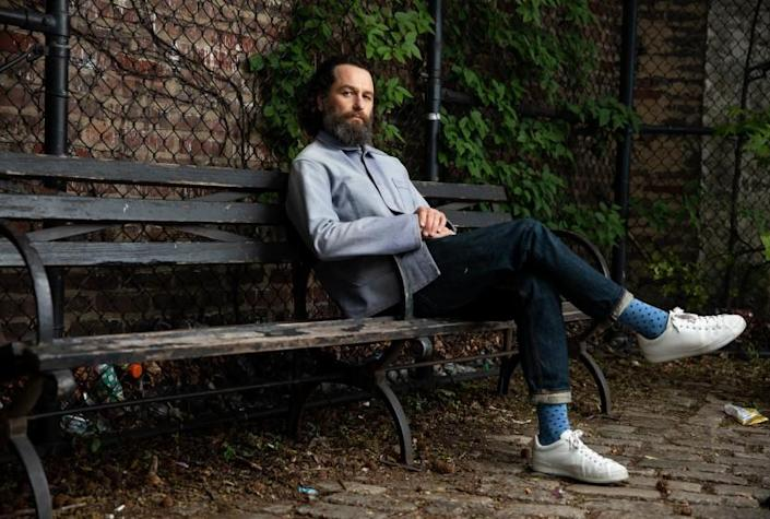 """NEW YORK, NY - 5/28/21: Actor Matthew Rhys poses for a portrait on Friday, May 28, 2021 in Adam Yauch Park in the Brooklyn borough of New York City. Rhys stars in HBO's """"Perry Mason"""" series. (PHOTOGRAPH BY MICHAEL NAGLE / FOR THE TIMES)"""