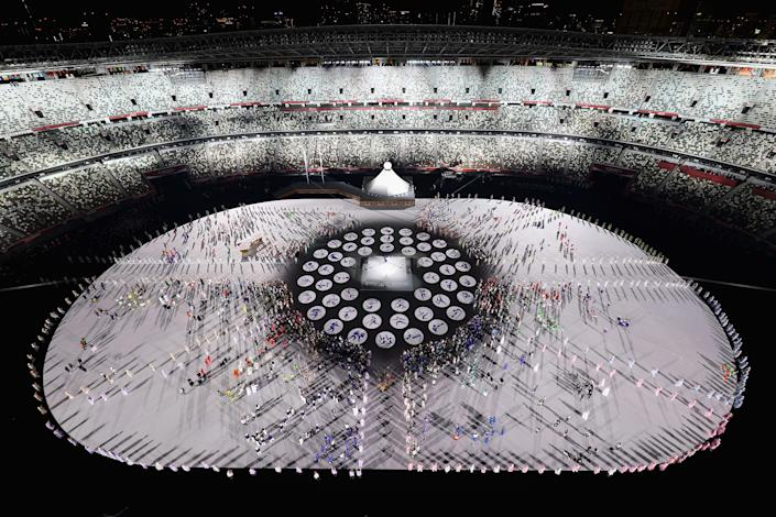 <p>TOKYO, JAPAN - JULY 23: A general view during the Opening Ceremony of the Tokyo 2020 Olympic Games at Olympic Stadium on July 23, 2021 in Tokyo, Japan. (Photo by Richard Heathcote/Getty Images)</p>