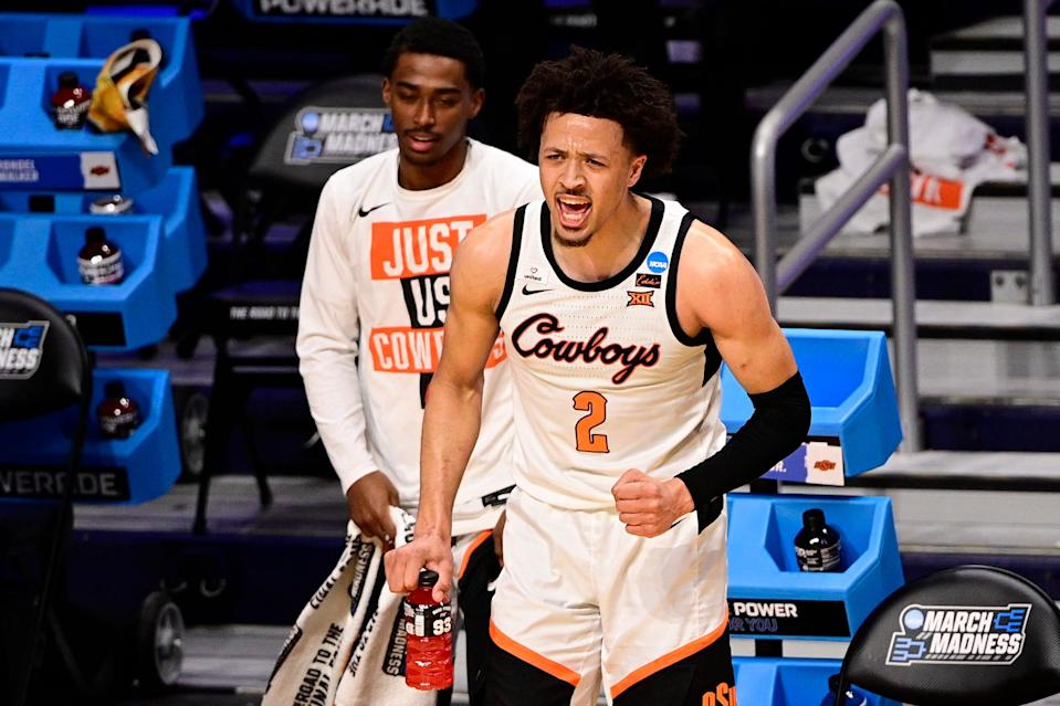 Oklahoma State guard Cade Cunningham (2) yells from the sidelines during the second half against Oregon State.