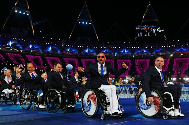 LONDON, ENGLAND - AUGUST 29: French athletes arrive during the Opening Ceremony of the London 2012 Paralympics at the Olympic Stadium on August 29, 2012 in London, England. (Photo by Dan Kitwood/Getty Images)