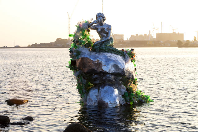 <p>The Danish brewery reveals a mermaid 'canstruction' to launch a new multi-pack that will reduce plastic waste by 1,200 tonnes annually, on September 6, 2018 in Copenhagen, Denmark. (Photo by Ole Jensen/Getty Images for Carlsberg) </p>