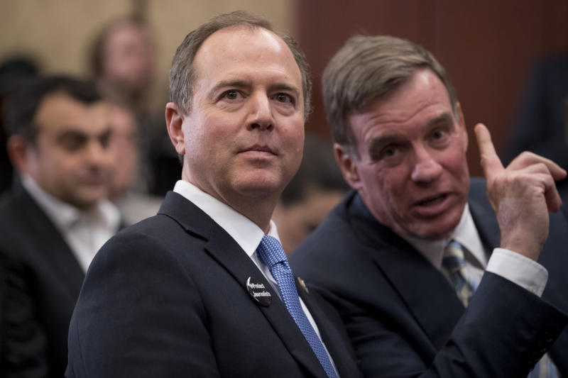 Adam Schiff D-Calif. chairman of the House Intelligence Committee left speaks with Sen. Mark Warner D-Va. at an event marking 100 days since the death of Jamal Khashoggi on Capitol Hill in Washington Thursday Jan. 10 2019. (AP