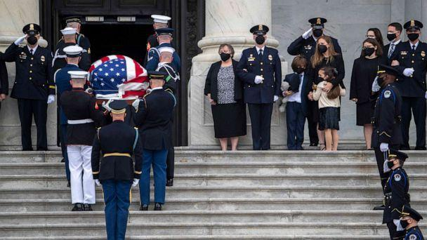 PHOTO: A casket containing the remains of Capitol Police officer William Evans, who was killed in the line of duty on April 2, arrives for a ceremony honoring the officer at the Capitol in Washington, April 13, 2021. (Shawn Thew/AFP via Getty Images)