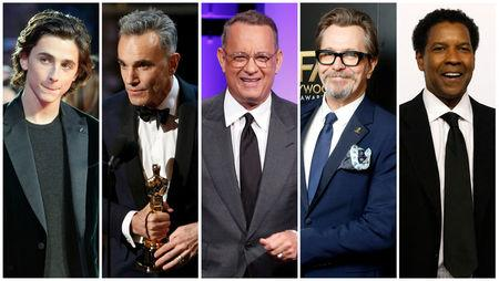 File combination photo shows nominees for the 75th Golden Globe Awards, Best Performance by an Actor in a Motion Picture, Drama, (L-R) Chalamet, Lewis, Hanks, Oldman, Washington