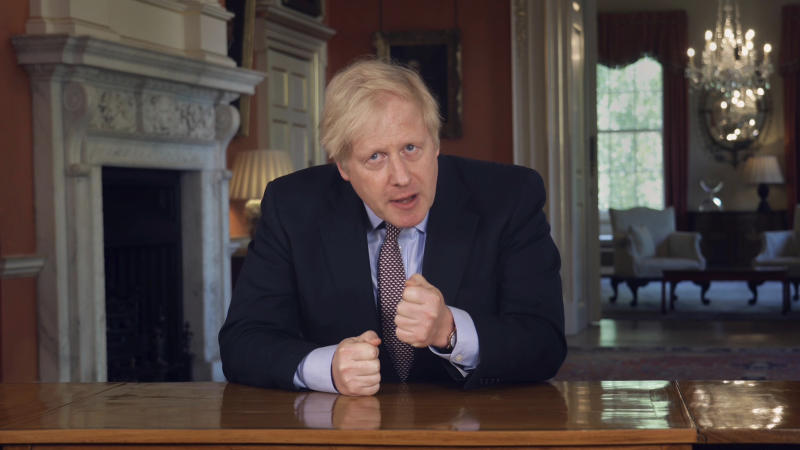 In this grab taken from video issued by Downing Street on Sunday, May 10, 2020, Britain's Prime Minister Boris Johnson delivers an address on lifting the country's lockdown amid the coronavirus pandemic. (Downing Street via AP)