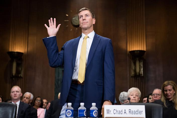 Chad A. Readler, nominee to be U.S. Circuit Judge for the Sixth Circuit, is sworn in to a Senate Judiciary Committee hearing on judicial nominations in Dirksen Building on Oct. 10, 2018. (Photo: Tom Williams via Getty Images)