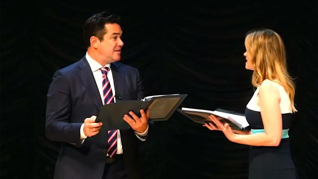 "Dean Cain and Kristy Swanson star in ""FBI Lovebirds: Undercovers."" (Screengrab via 'The Ann and Phelim Scoop'/YouTube)"
