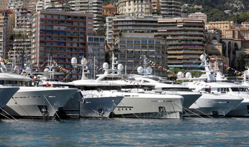 FILE PHOTO: Luxury boats are seen during Monaco Yacht Show